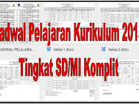 Jadwal Pelajaran Kurikulum 2013 Tingkat SD/MI Komplit