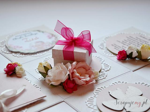 exploding box na chrzest, różówy box, pudełko na chrzest, prezent od matki chrzestnej