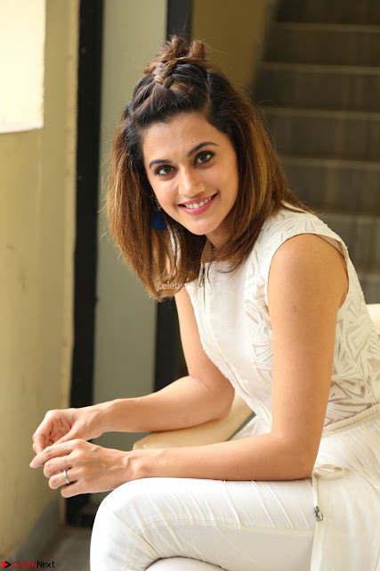 Taapsee Pannu in cream Sleeveless Kurti and Leggings at interview about Anando hma ~  Exclusive Celebrities Galleries 001.JPG