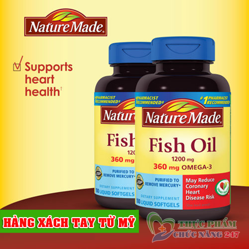 dầu cá nature made fish oil omega 3 1200mg, omega 3 fish oil 1000mg của mỹ