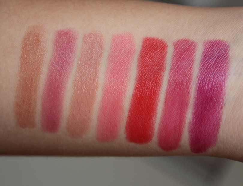glominerals glo professionals glo minerals cream glaze lip crayons review swatches chiffon praline bloom heirloom jetset dahlia lipstick