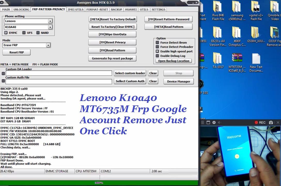 Lenovo K10a40 MT6735M Frp Google Account Remove Just One