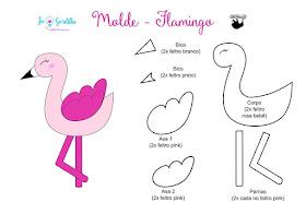 Molde de Flamingo em feltro