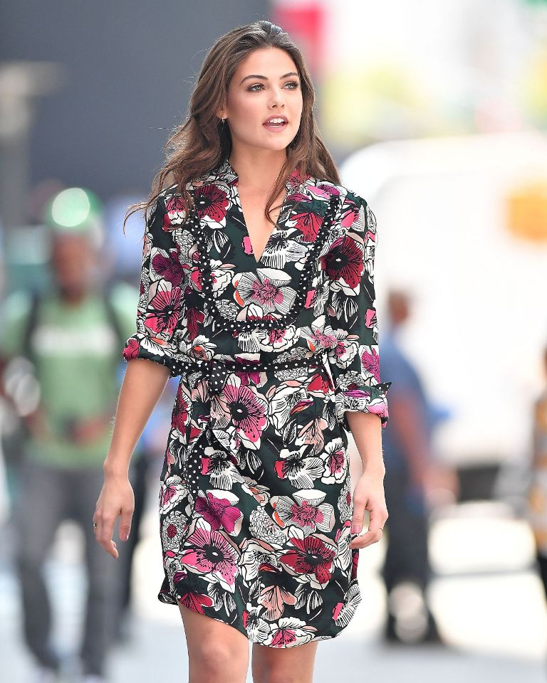 Danielle Campbell Street Style in a Floral Dress in New York City