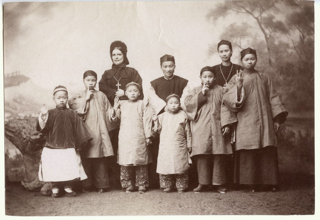 Group of Missionary School Children with their Teacher - Vintage Photograph, China c1880's