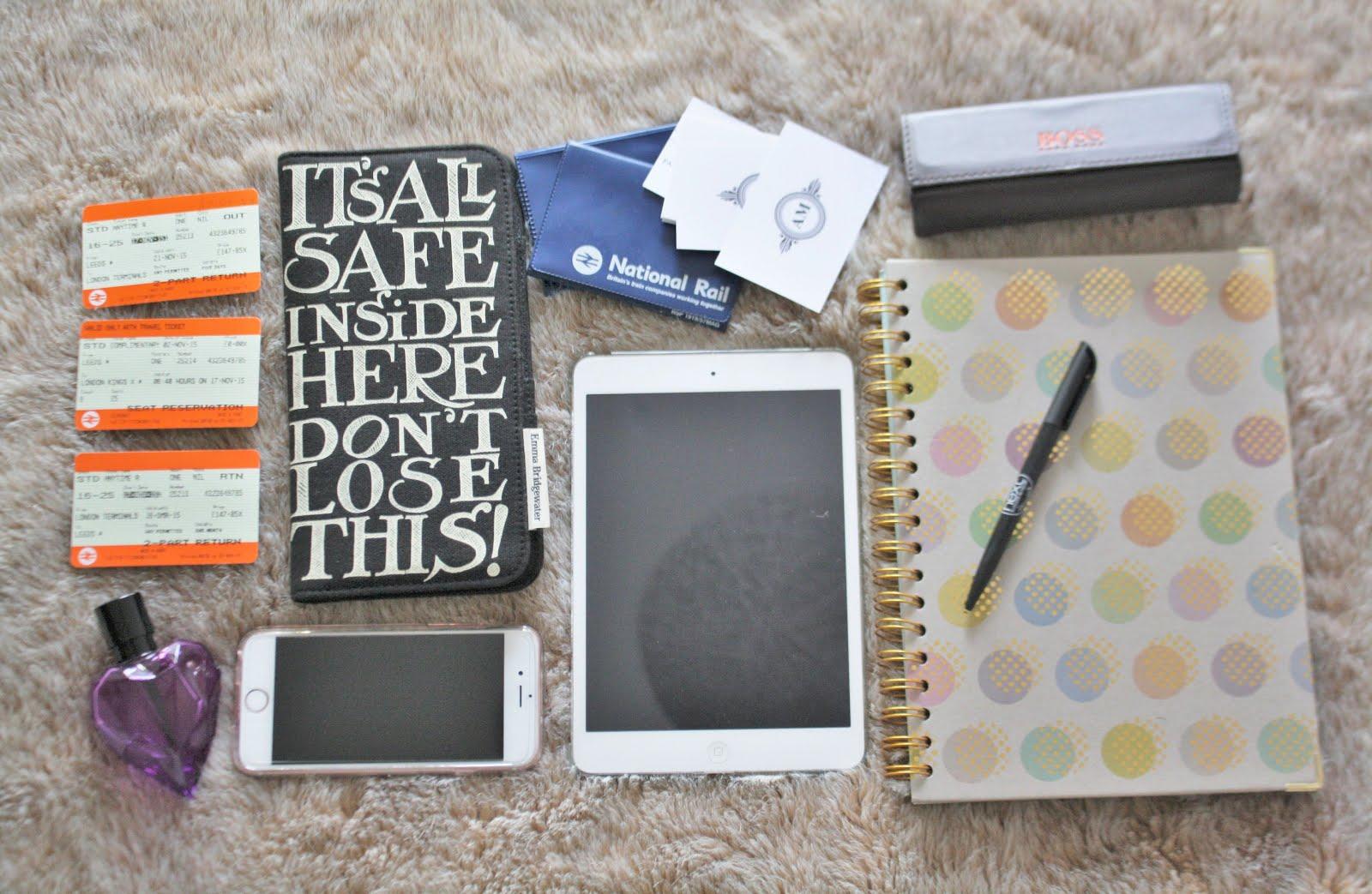 blogger essentials, flatlay, blogger event, london, travel essentials, travel kit, emma bridgewater