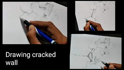Cracked wall drawing, step by step tutorial for to draw walls, how to draw walls, easy to draw walls structure, walls Drawing