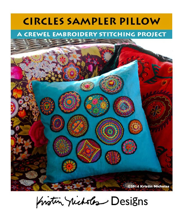 A Fun New Stitching Project - Circles Sampler Crewel Embroidery Pillow!