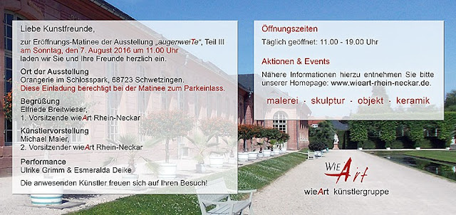 Programm und Öffnungszeiten der Ausstellung Künstlergruppe wieArt in Schwetzingen Schloß