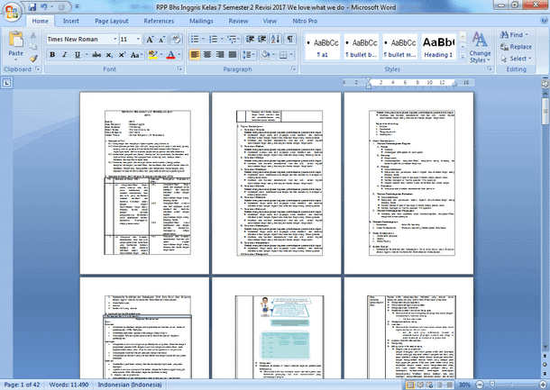 Contoh RPP K13 Bahasa Inggris Kelas 7 SMP MTs Semester 2 Revisi Terbaru