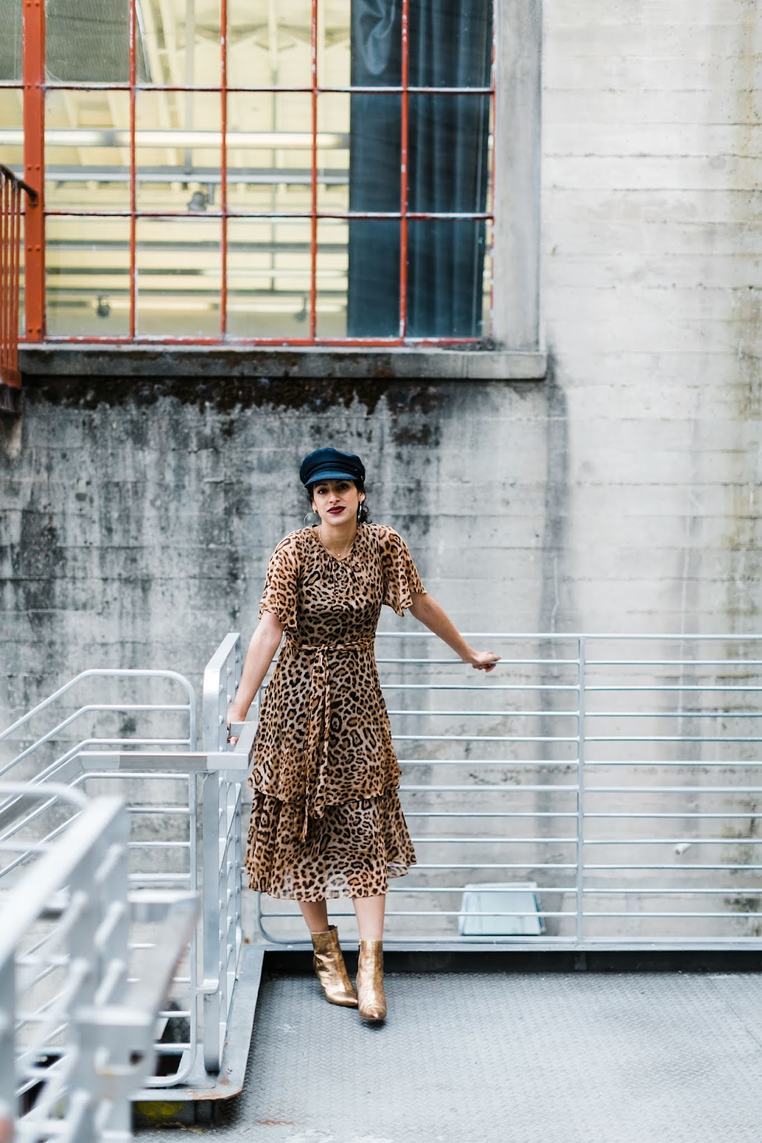 leopard dress, oversized denim, winter style, chic street style, San Francisco style, Rachel Roy leopard dress, gold booties