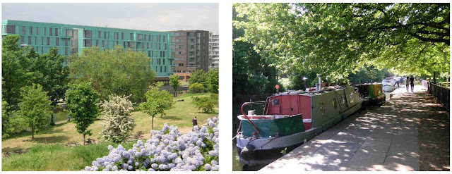 Mile End Park's Art Park and the towpath besides Victoria Park