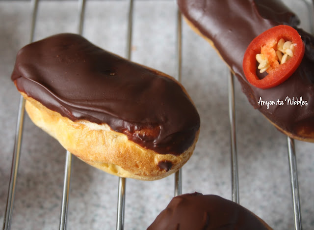 Close up of three mini chilli chcolate eclairs from www.anyonita-nibbles.com