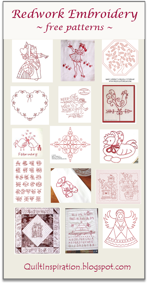 Quilt Inspiration Free Pattern Day Redwork Embroidery