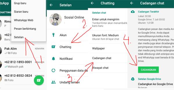 langkah untuk mencadangkan pesan whatsapp di google drive