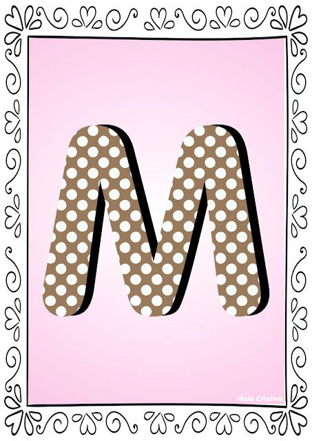Alfabeto Poá Colorido com Borda Letra M