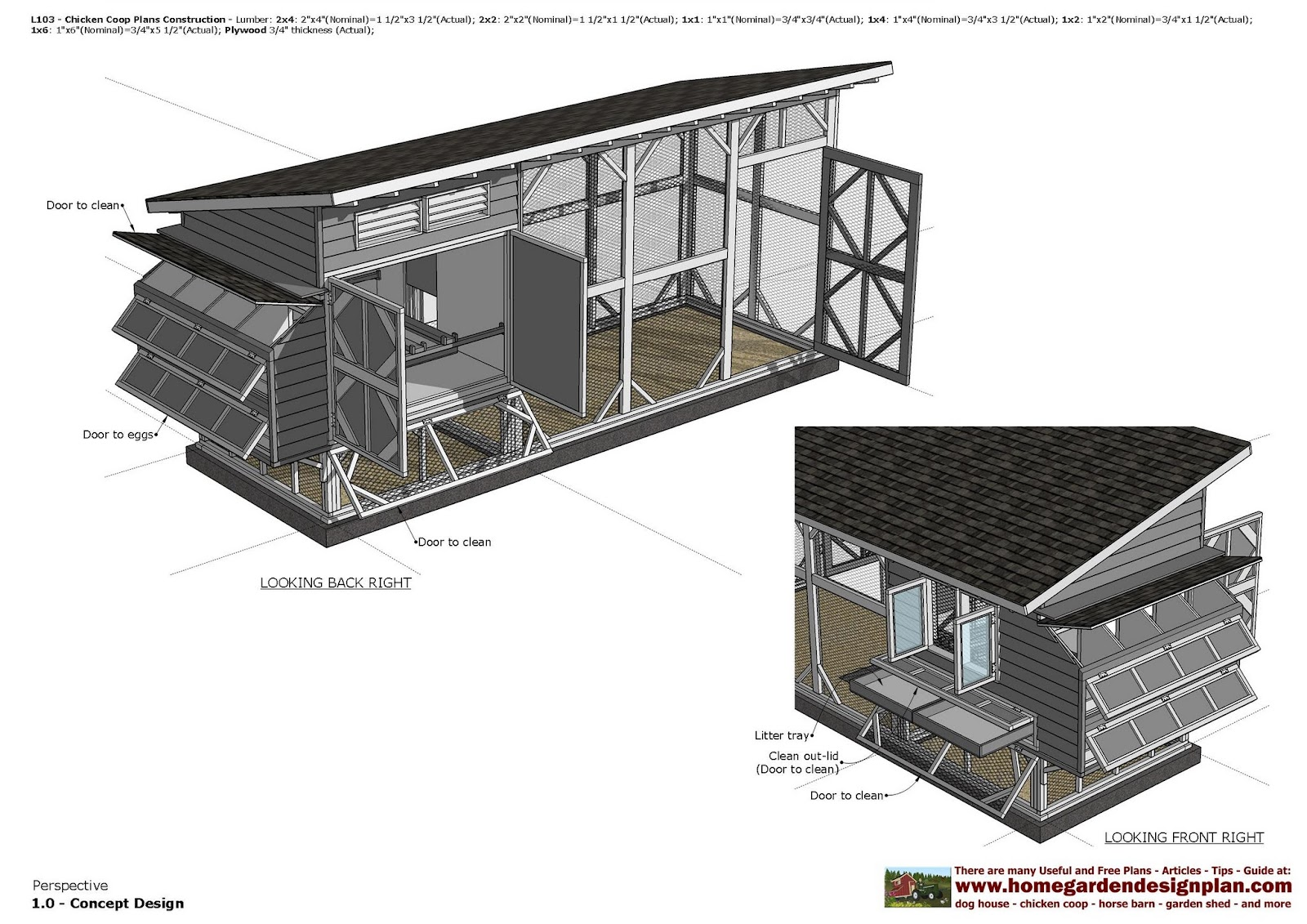 Home Garden Plans L103 Chicken Coop Plans Chicken