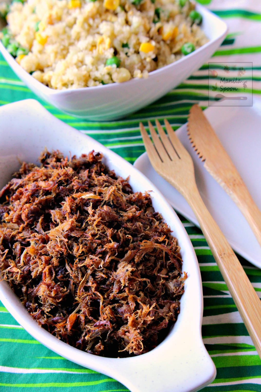 Crunchy and flavorful, these crispy adobo flakes are perfect for breakfast, as topping for salad or soup and a delicious accompaniment to your favorite Asian dish. Use left-over pork, chicken or beef adobo to make this so nothing is wasted! | manilaspoon.com
