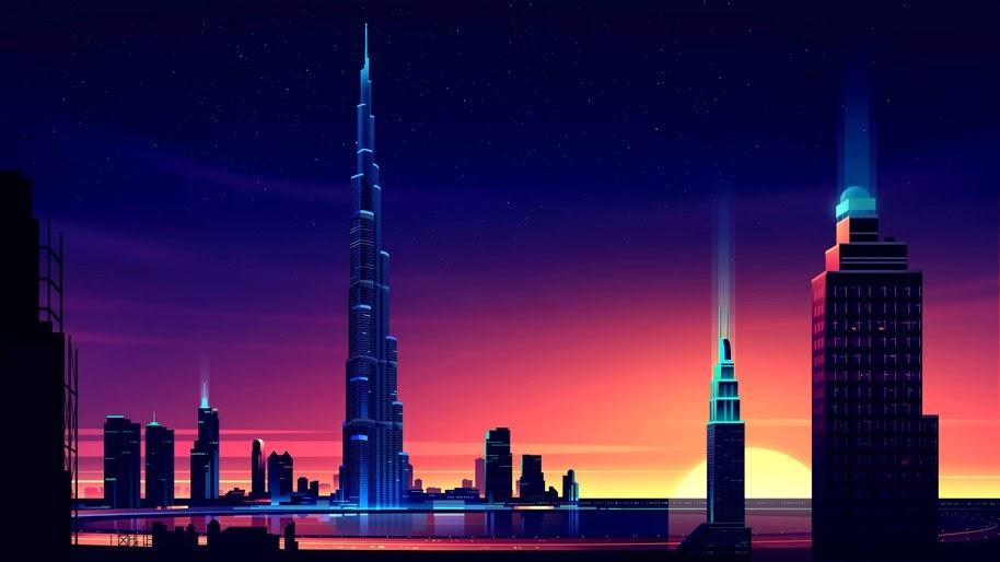 Dubai Burj Khalifa Cityscape Buildings City Digital Art 4k
