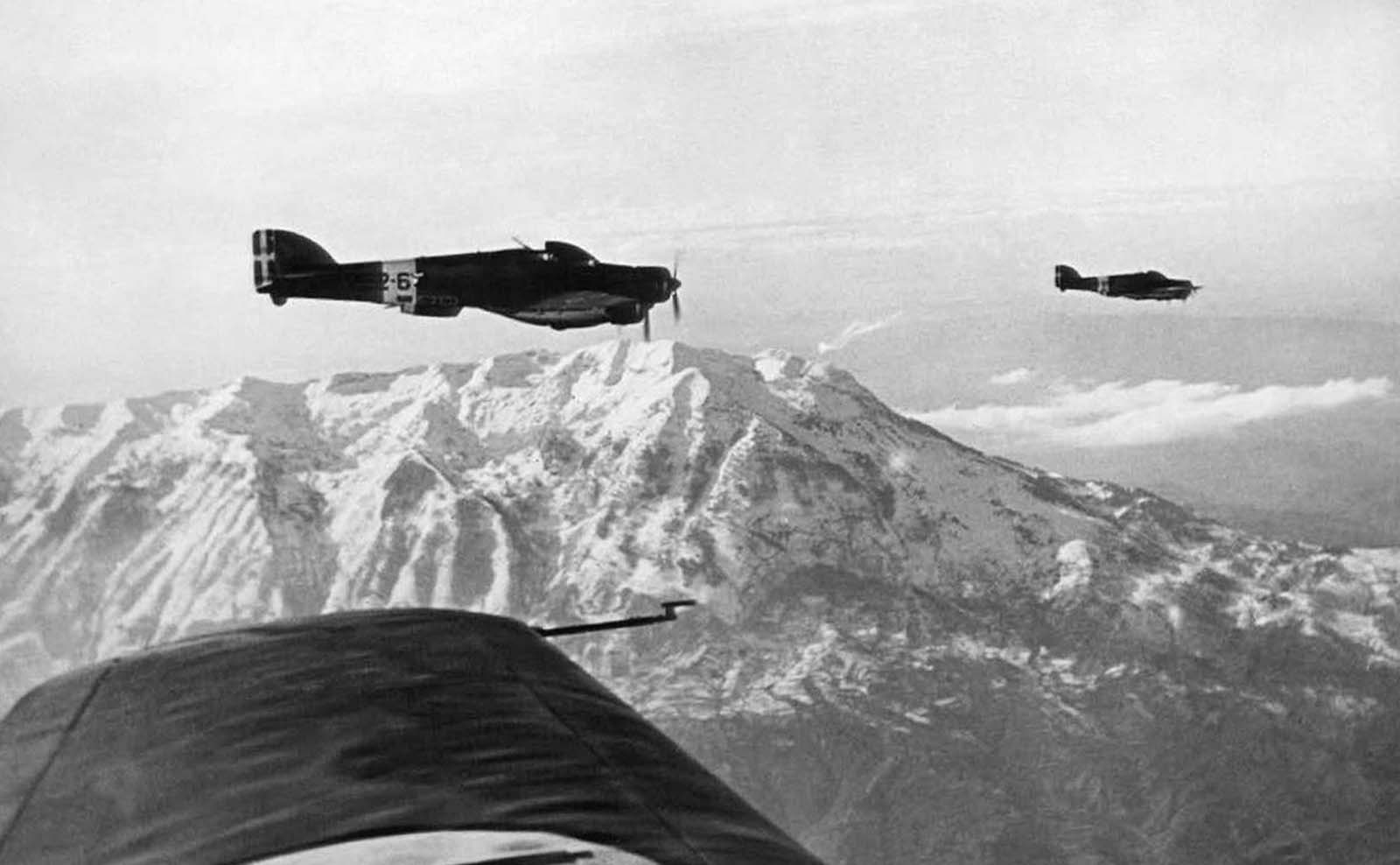 Italian bombers on their way to war action on the Albanian-Greek frontier, on January 9, 1941. Italian armies had launched an invasion of Greece from Albanian territory on October 28, 1940.