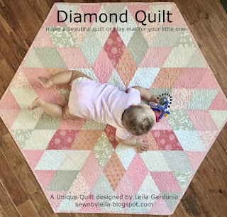 baby quilt, fast baby quilt, unique baby quilt tutorial, make your own baby quilt, pink and ivory baby quilt, hexagon quilt, diamond quilt, quilt tutorials
