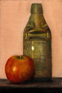 Oil painting of a Pink Lady apple beside a Codd-neck bottle.
