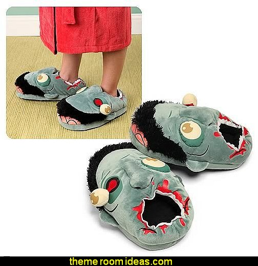 Zombie Plush Slippers  Gift ideas - fun novelty gift shopping ideas - gift ideas - slippers - sleep wear - personalized gifts - cool stuff to buy