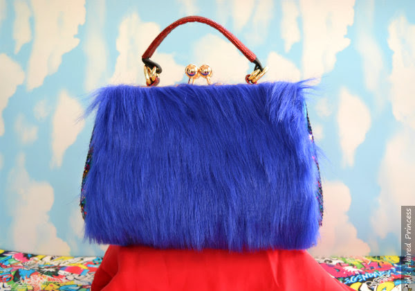 blue fur fabric back of Gonzo handbag