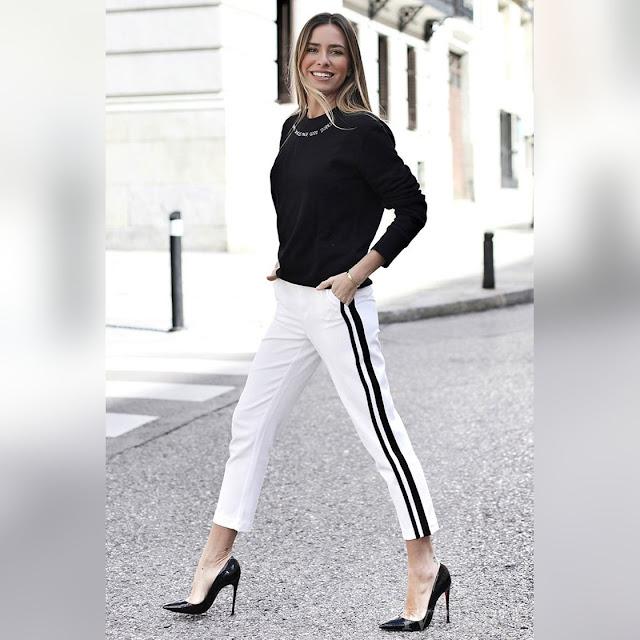 Γυναικείο ψηλόμεσο άσπρο-μαύρο παντελόνι MELINA