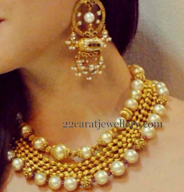 South Sea Pearls Gold Beads Set Jewellery Designs