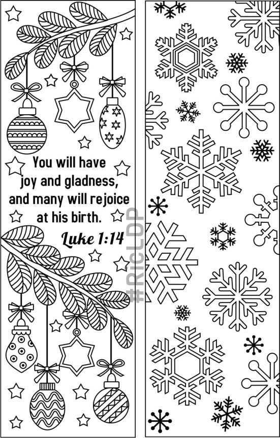 It is a graphic of Lively Free Printable Christmas Bookmarks to Color