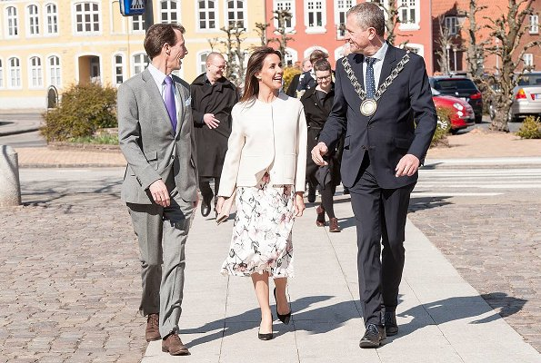 Princess Marie wore GOAT Glenda floral wrap dress. Princess Marie wore a floral print dress by Goat Fashion in Tonder