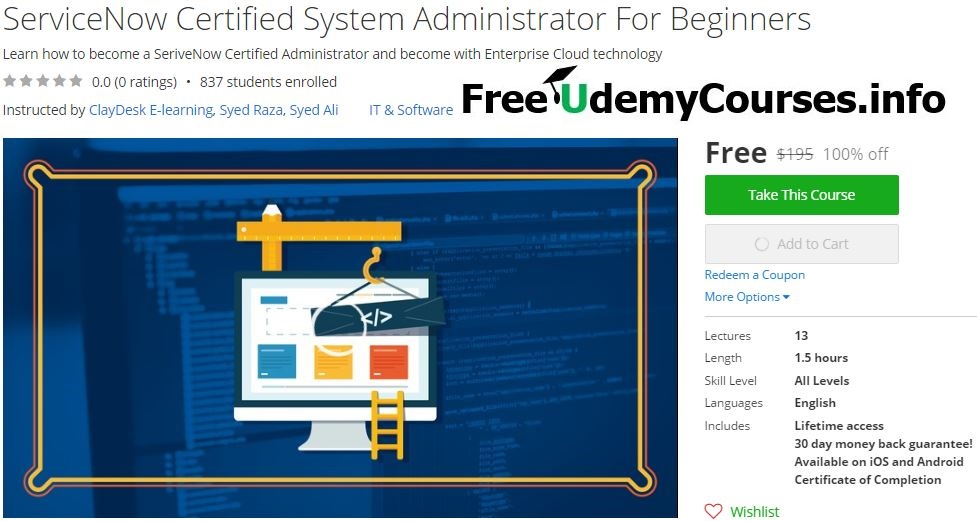 Udemy 100% Off] #ServiceNow Certified System Administrator For ...