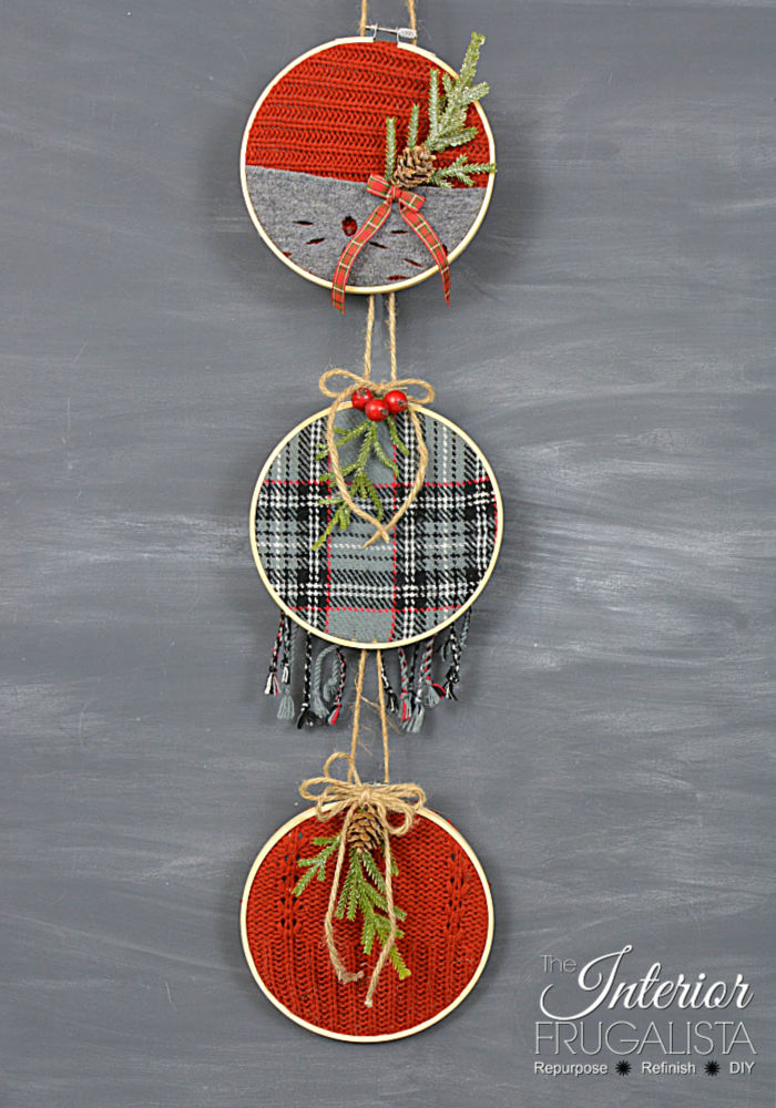 Festive Recycled Sweater Ornaments