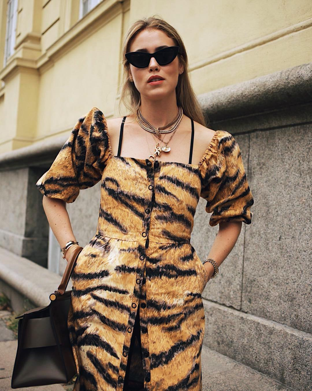 How to Wear a Tiger-Print Dress Like a Cool Scandi Girl — Annabel Rosendahl Instagram Outfit Idea