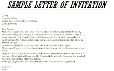 Sample Invitation Letter Us Visitor Visa – Invitation Letter for Us Visa