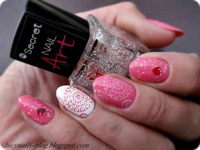 Sensique Art Nails nr 329 Pink Vertigo i My Secret Nail Art nr 271 Red Heart