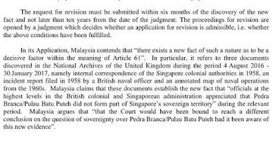 PENEMUAN 'FAKTA BAHARU' DORONG MALAYSIA MOHON SEMAKAN SEMULA KEPUTUSAN ICJ MENGENAI PULAU BATU PUTEH