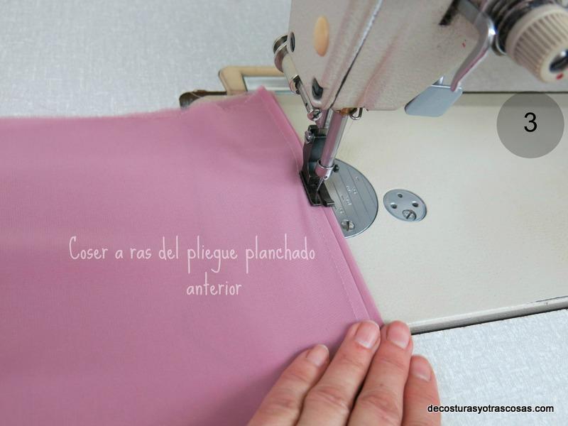 coser el segundo pliegue o lorza