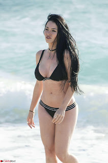 Claudea Alande in  Bikini  White Small  on beach 18th April 2017 06