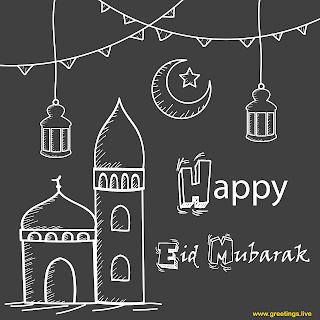 Happy Eid Mubarak Image,greetings Cards, line art, mosque, Ramadan lanterns, crescent moon.