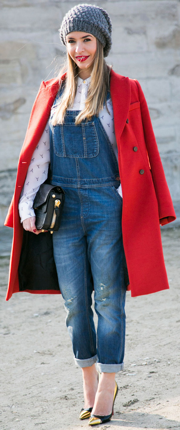 red coat and denim overalls