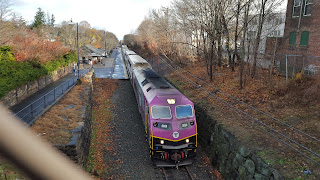 MBTA train on the Franklin Line headed to Forge Park Station
