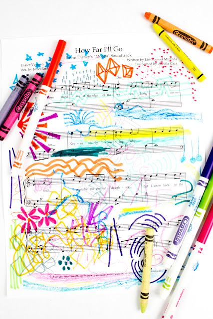 how to make musical sheet art with kids- great activity that combines music and art