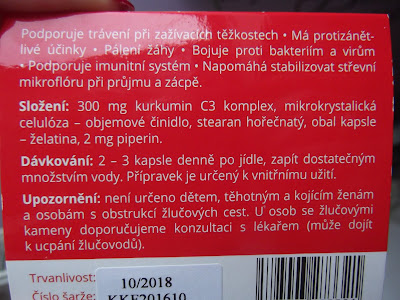 Kurkumin komplex forte + piperín  zloženie