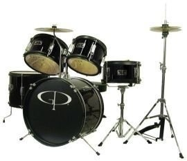 GP Percussion GP55BK 5-Piece Junior Drum Set with Cymbals and Throne in Metallic Black - intl