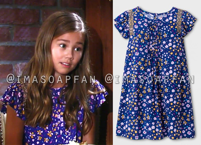 Emma Scorpio Drake, Brooklyn Rae Silzer, Blue Floral Dress, General Hospital, GH