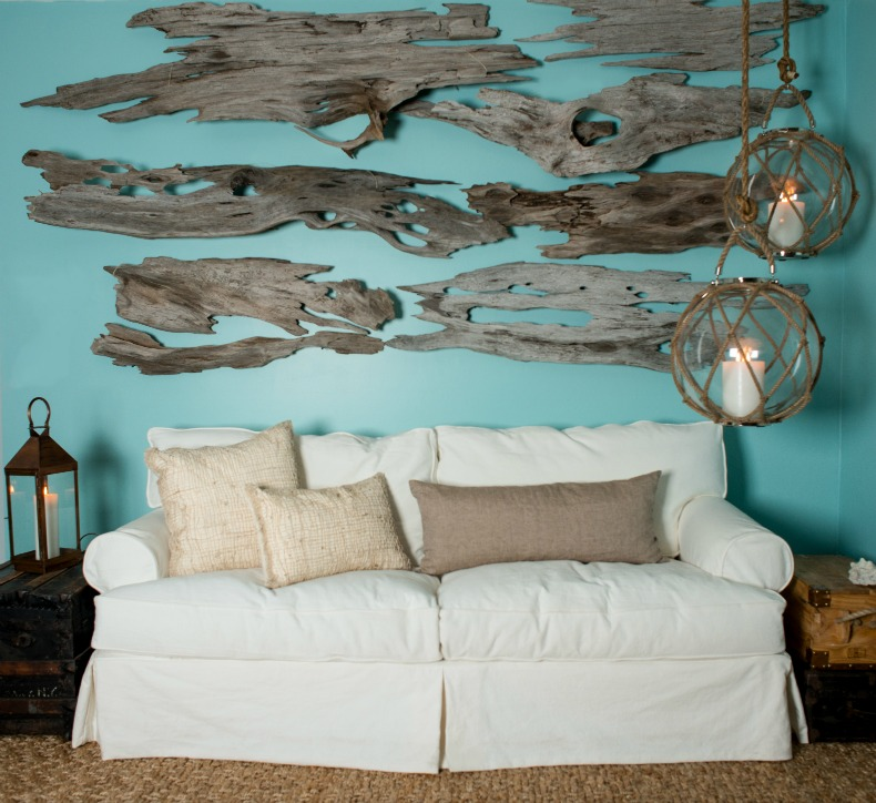 coastal, driftwood wall hanging, white slipcover sofa