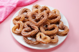 Heart-Shaped Churros coated in Strawberry Sugar #desserts #cakerecipe