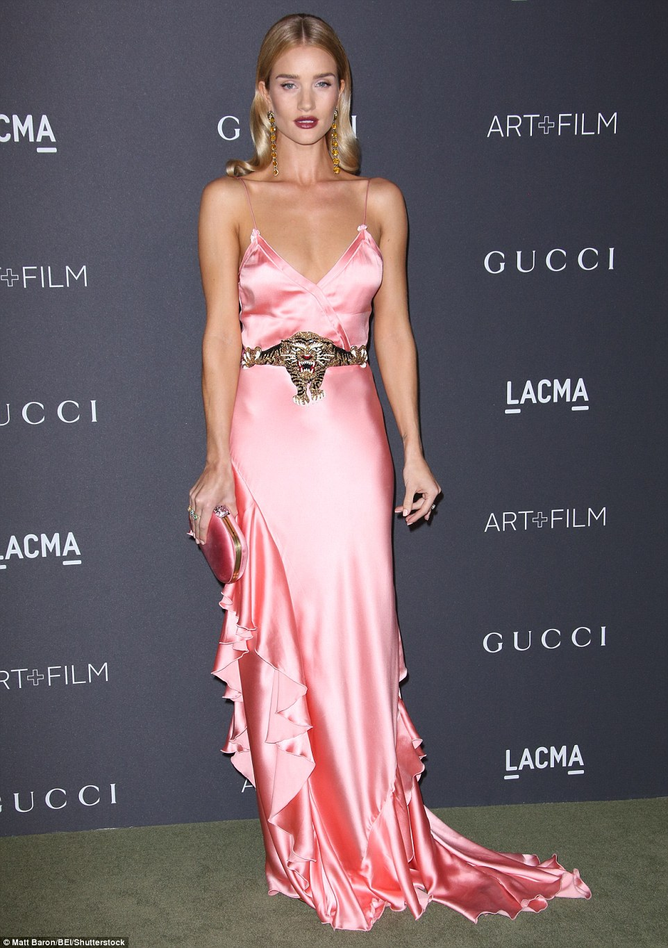 Rosie Huntington-Whiteley wears plunging gown to the LACMA Art + Film Gala in LA